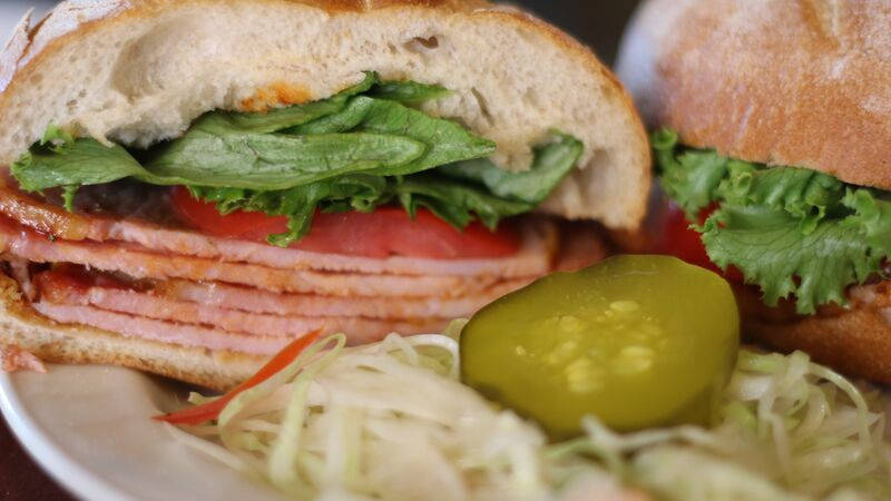 Peameal sandwich close up
