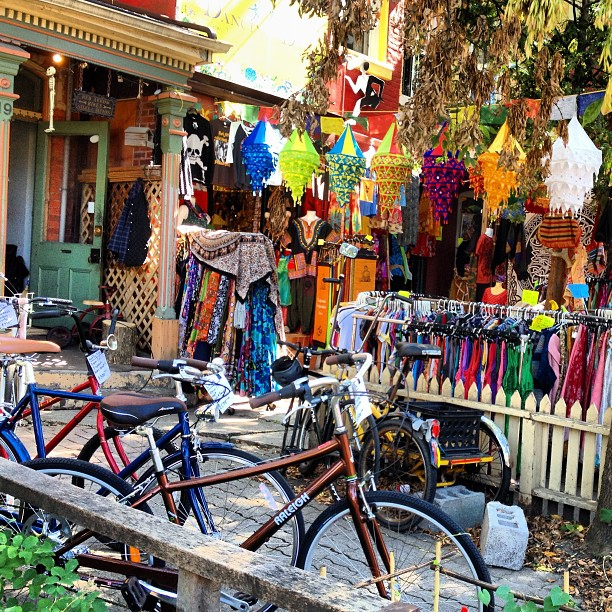 Kensington Market is full of vintage clothes and bikes.