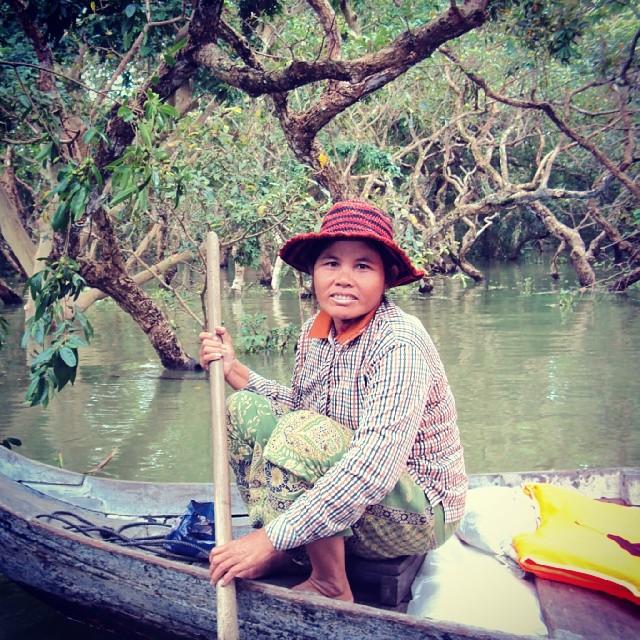 woman in boat in Siem Reap