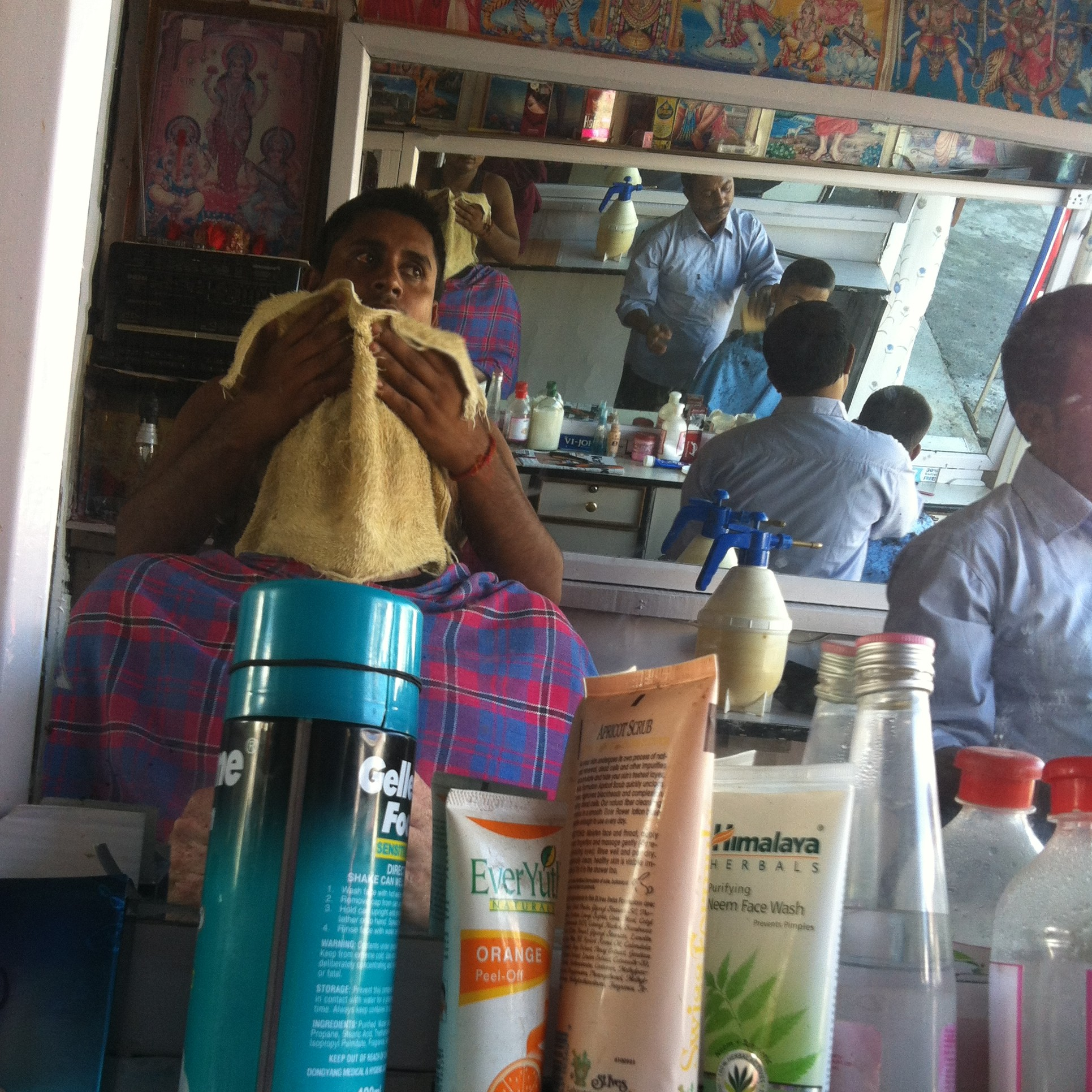 Inside the Pokhara barber shop