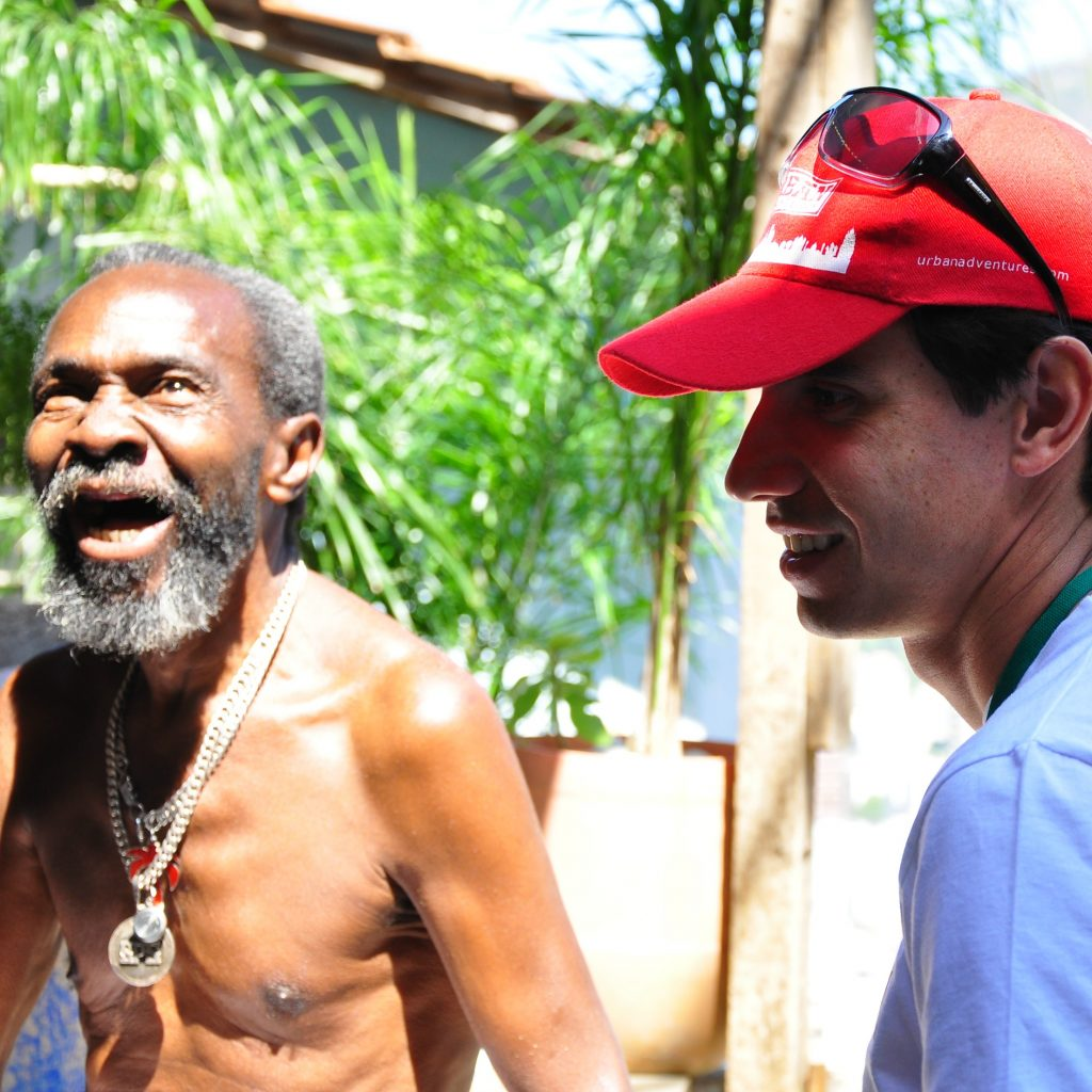 guide and local talking during a rio favela tour