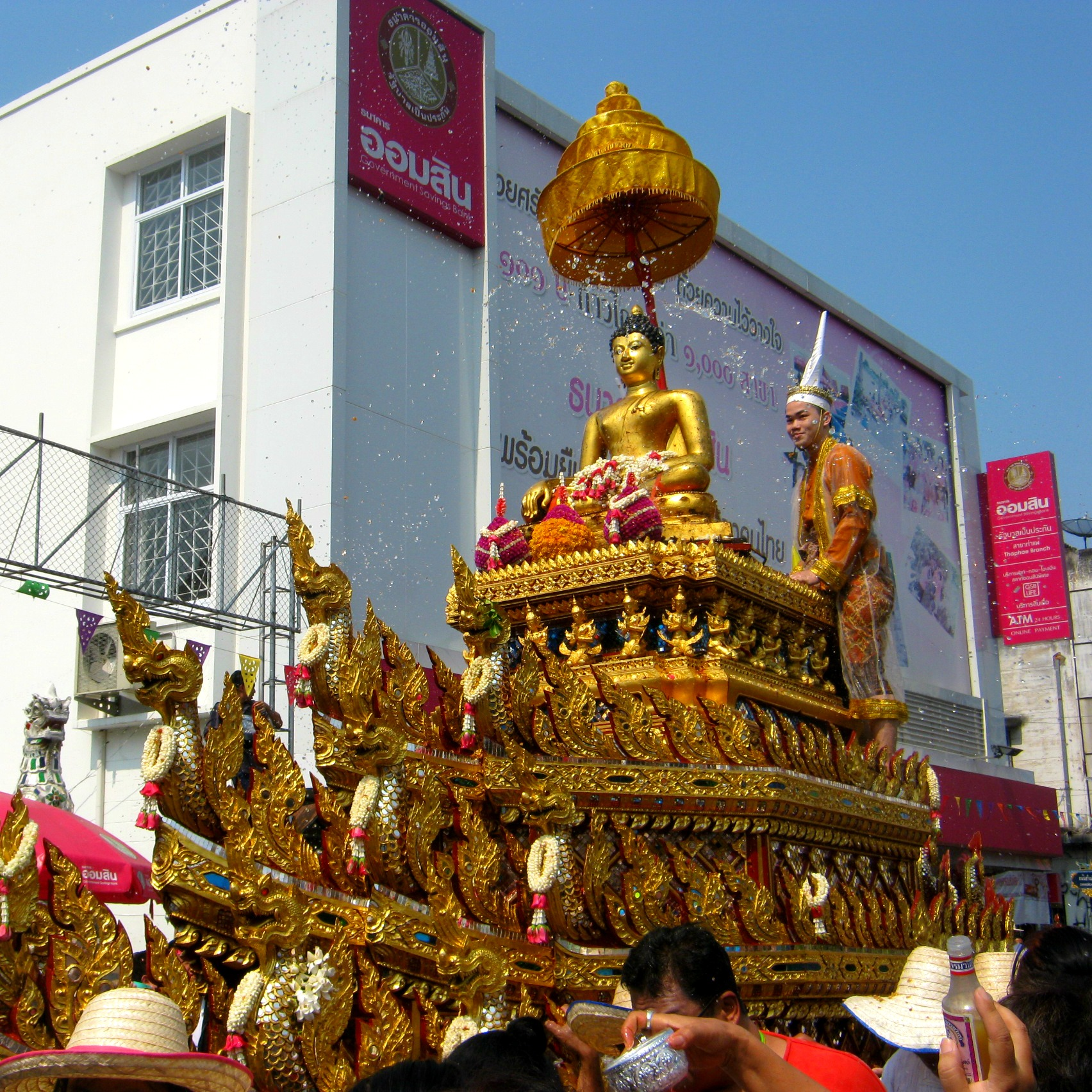 buddha float during songkran parade in chiang mai