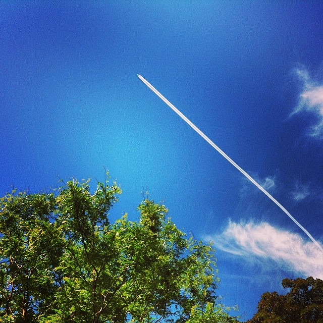 airplane flying across a blue sky