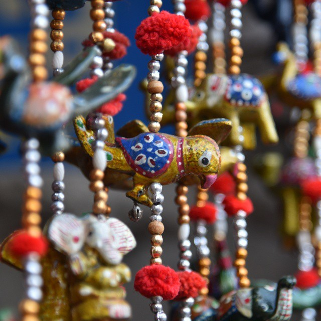 close-up of crafted beads in jaipur