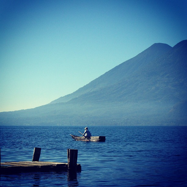 boater on lake in guatemala