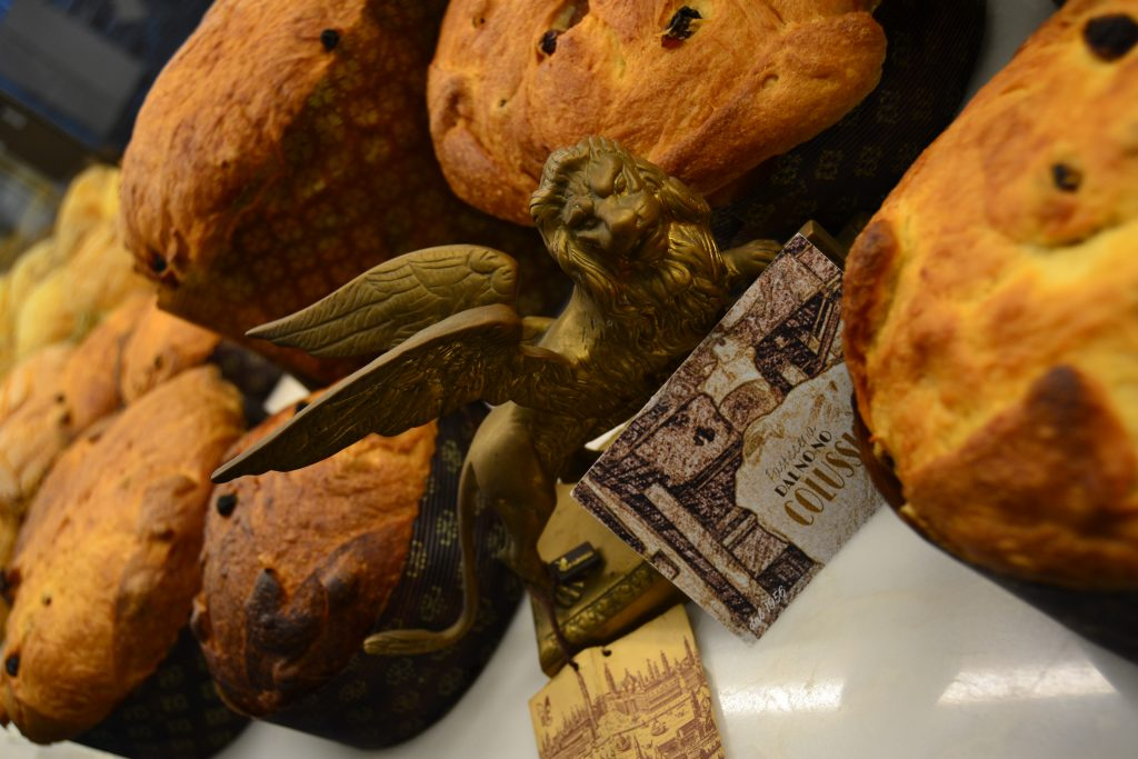 panettone on display in venice shop