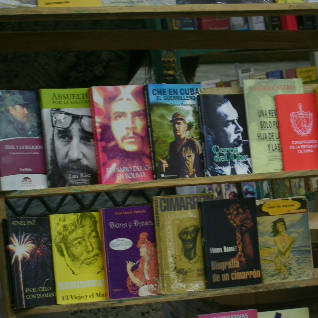 row of che guevara books in havana
