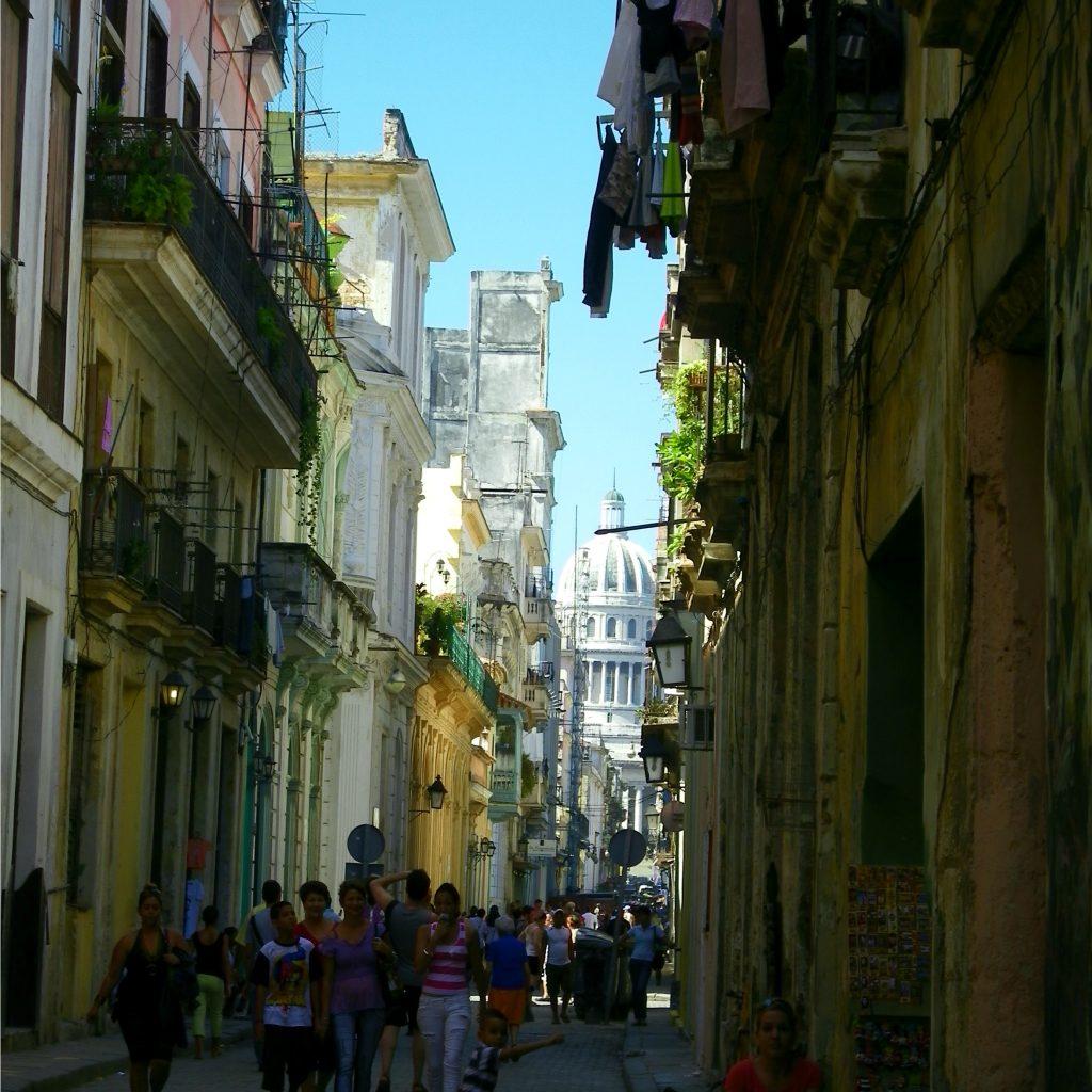 looking down a street of old havana