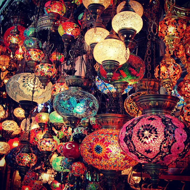 lamps on display in istanbul's grand bazaar