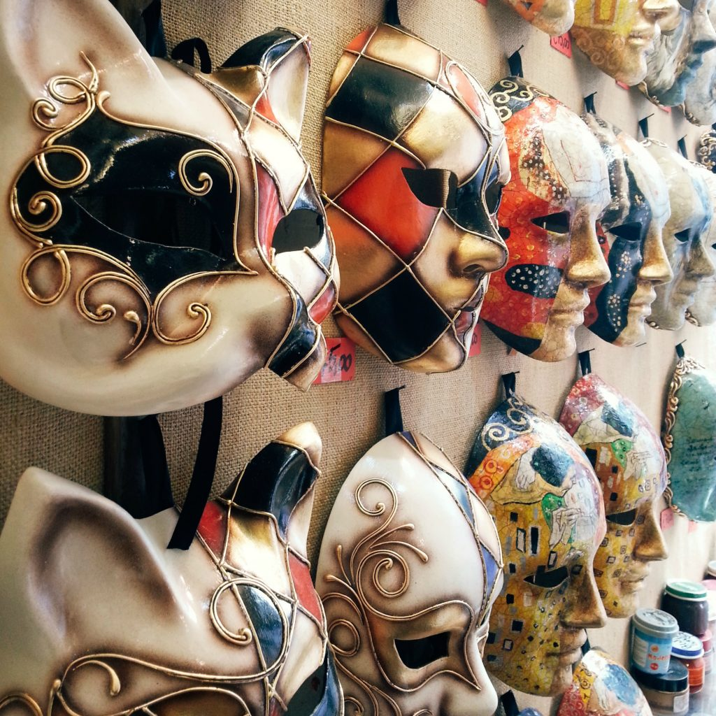 masks on display in venice