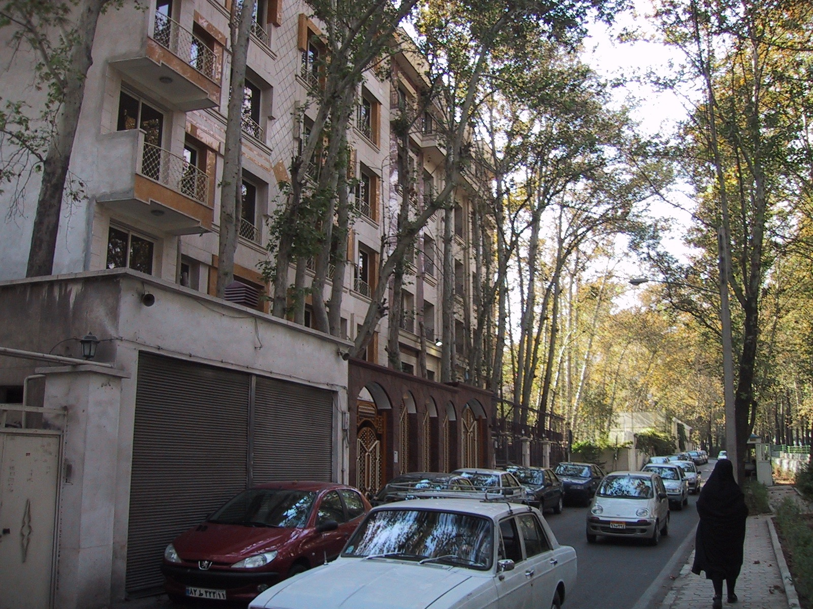 View down a residential street in Tehran