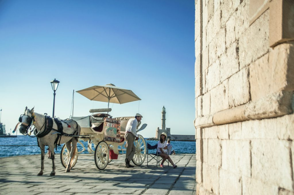 horse and carriage at the old town port in Chania