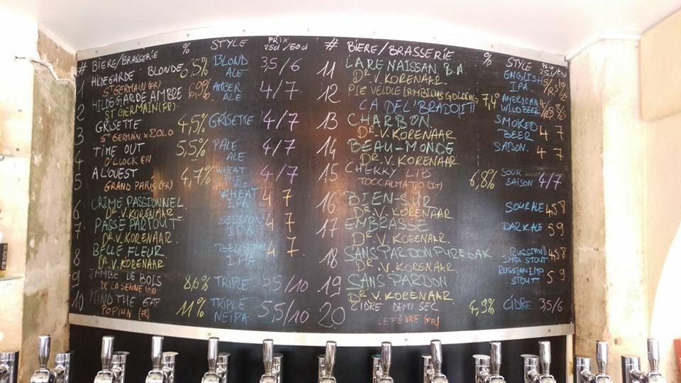 La Mousse Paris Beer Menu