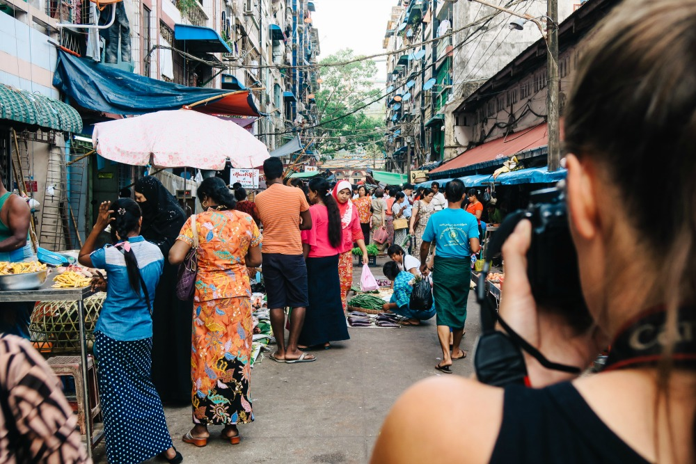 Photographing markets of Anawrahta Road
