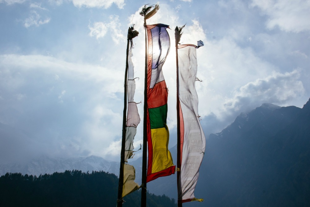 Prayer flags in the breeze in the Annapurna ranges