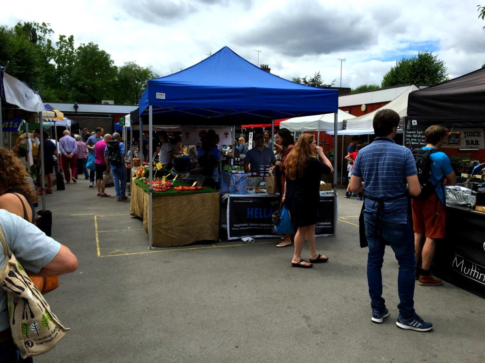 People shopping at Primrose Hill market