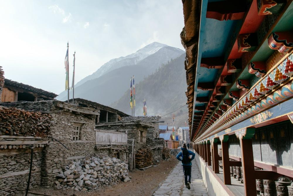 Walking through the Himalayan mountains