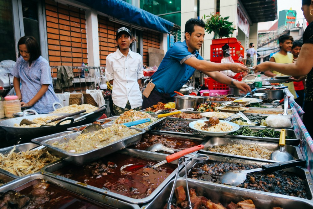 Street food in Chinatown Yangon