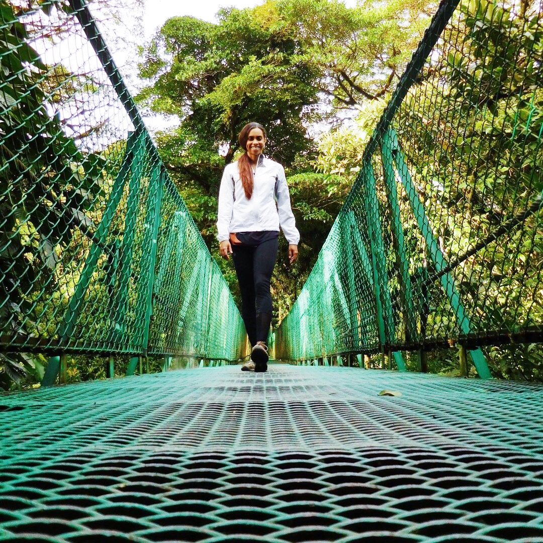 Walking along a bridge through the cloud forest in Costa Rica