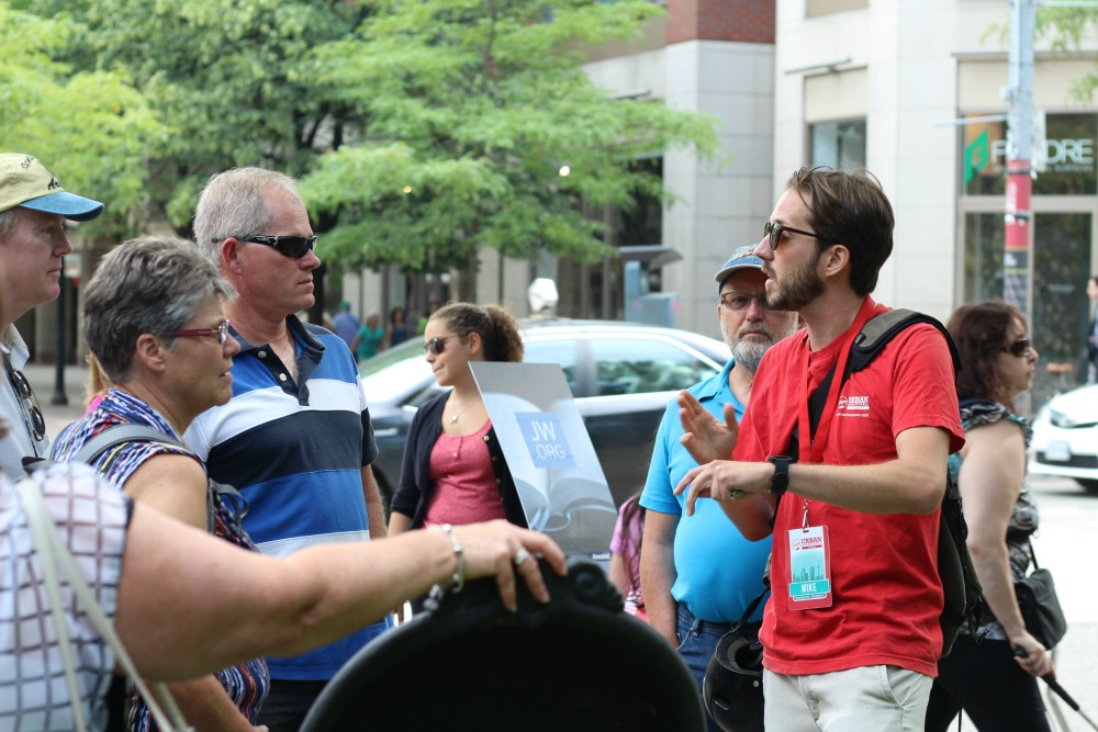 Our tour guide Mike in Toronto showing travellers around