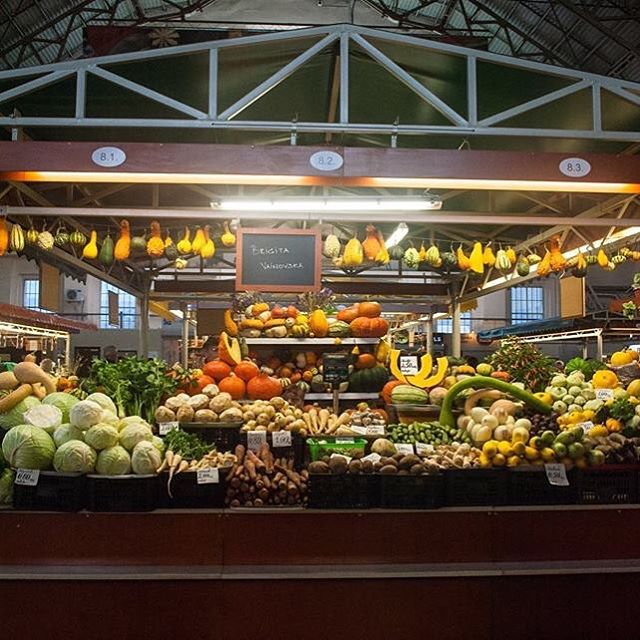 Produce on display in Riga's Central Market