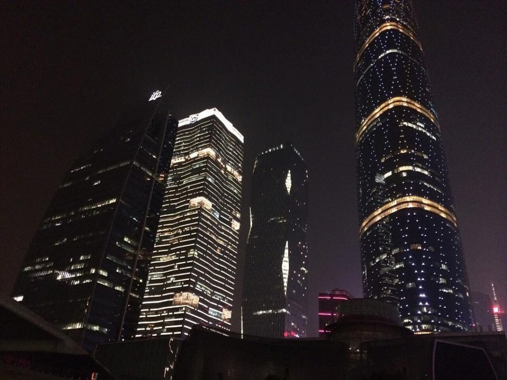 Downtown buildings lit up at night
