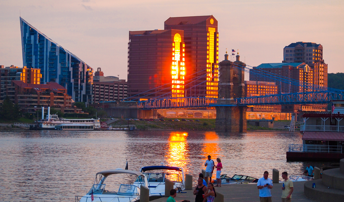 sunset along the river in Cincinnati