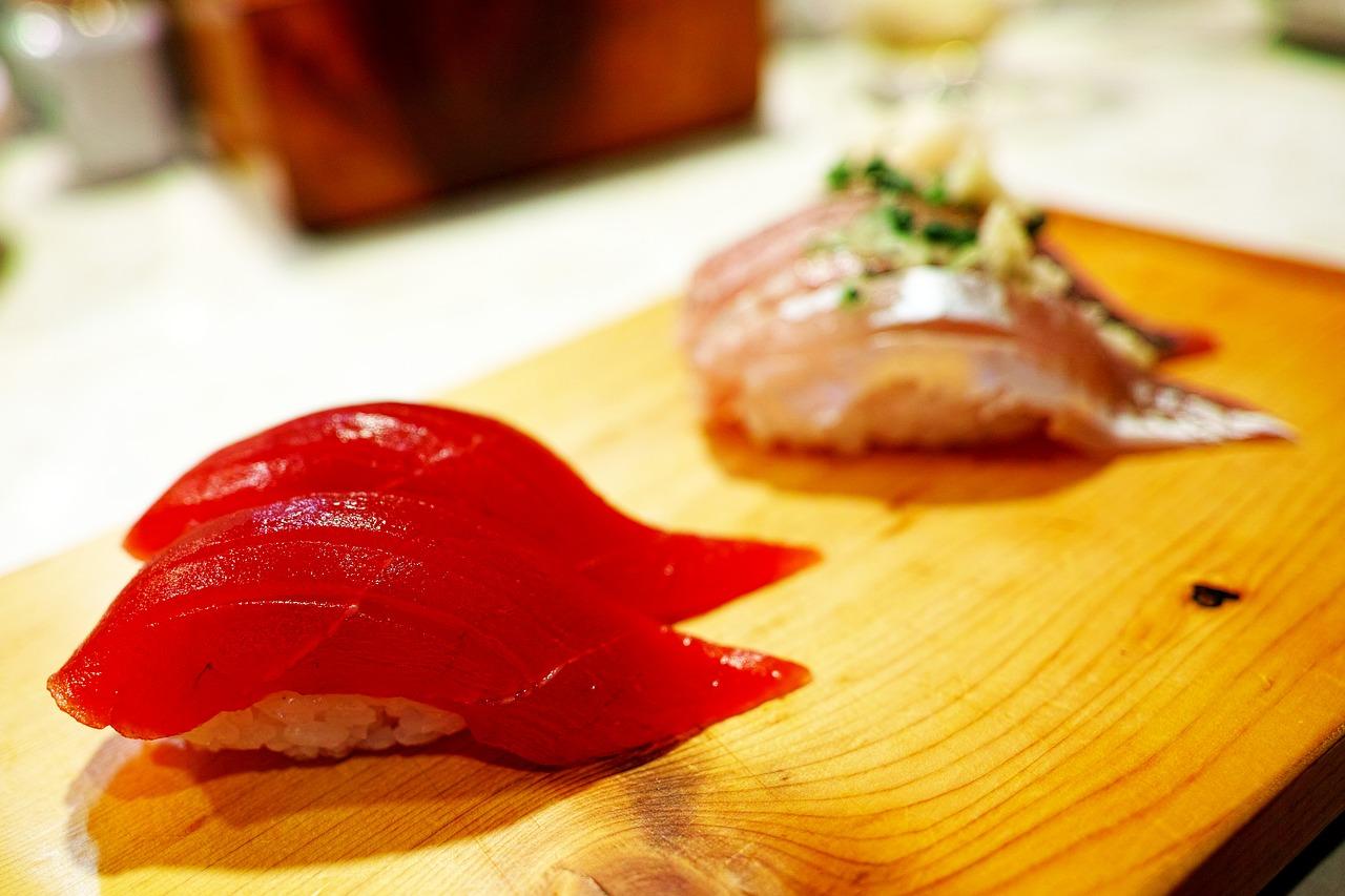 tuna sushi on a plate in Tokyo