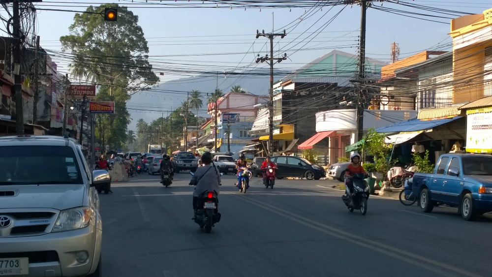 motorbikes along the road in Thailand