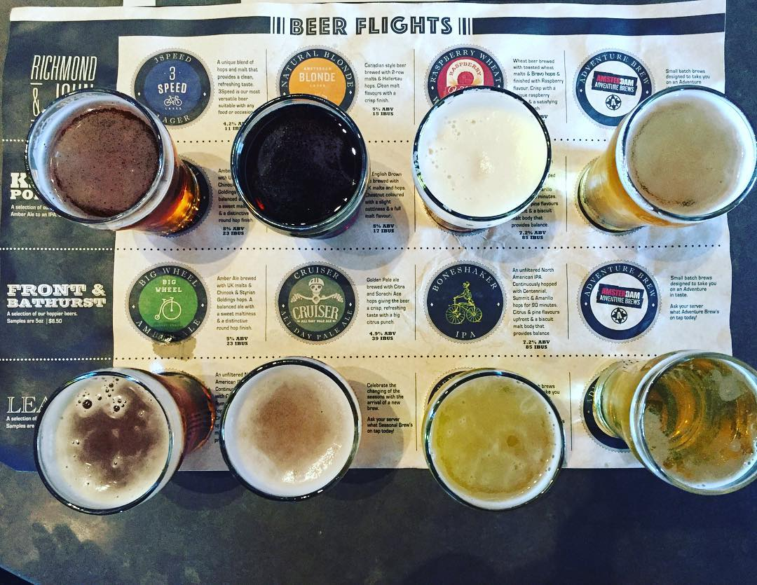 flight of beers on a table