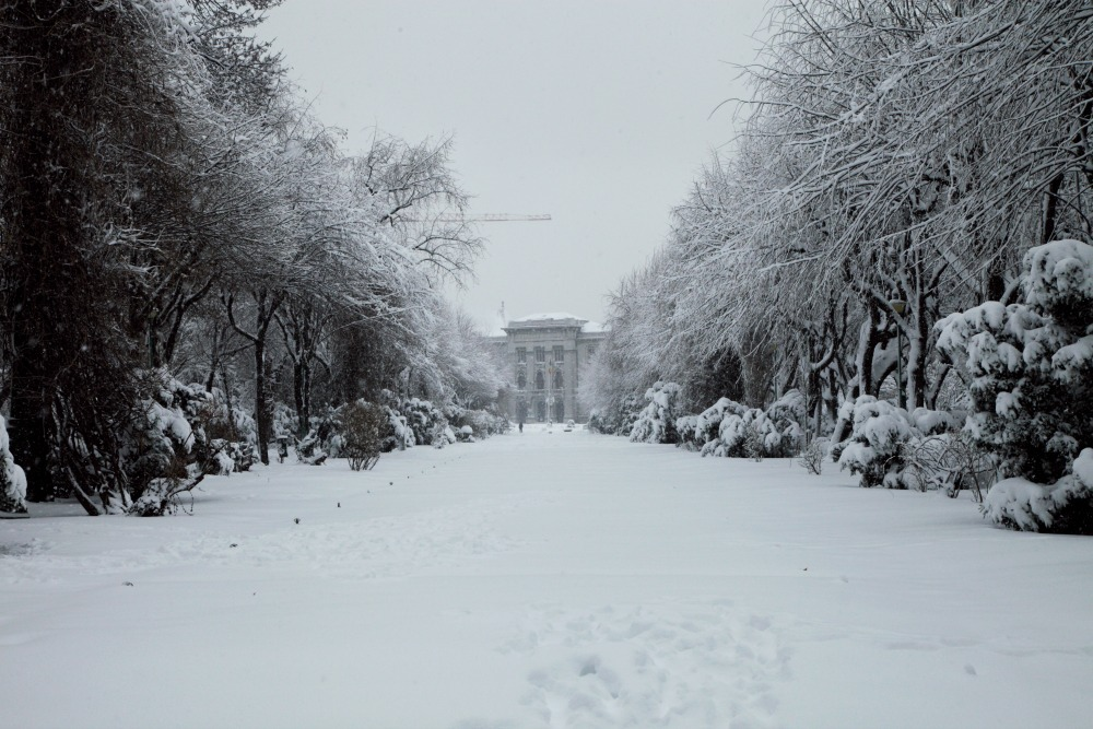 a snowy street in Bucharest
