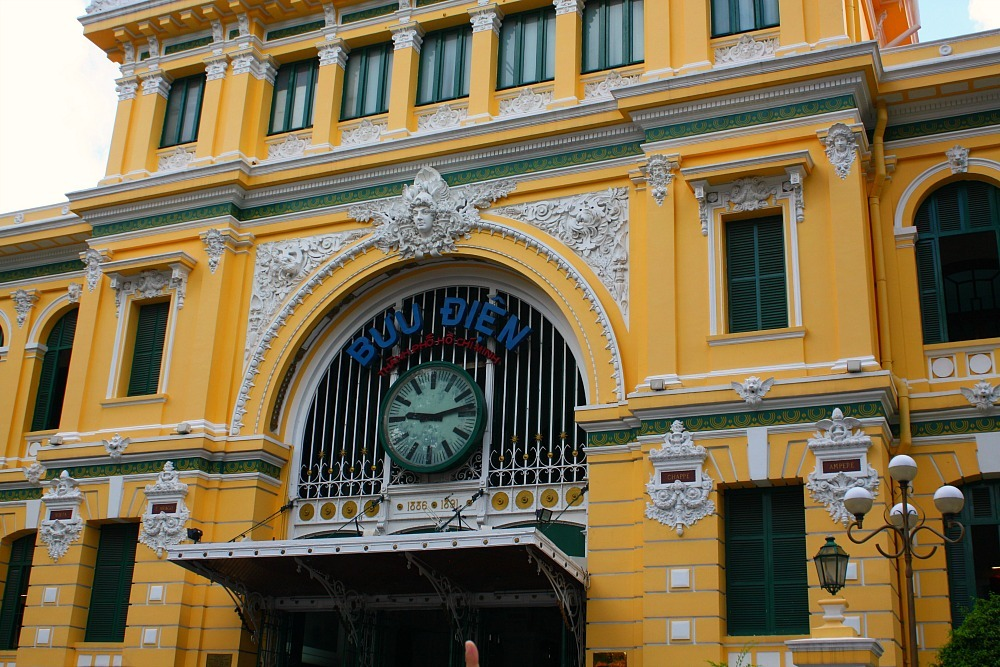 Front of the old post office building in HCMC