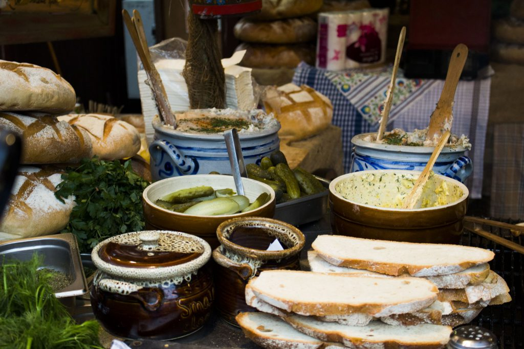 a meal of homemade bread and sides at New Year's in Krakow