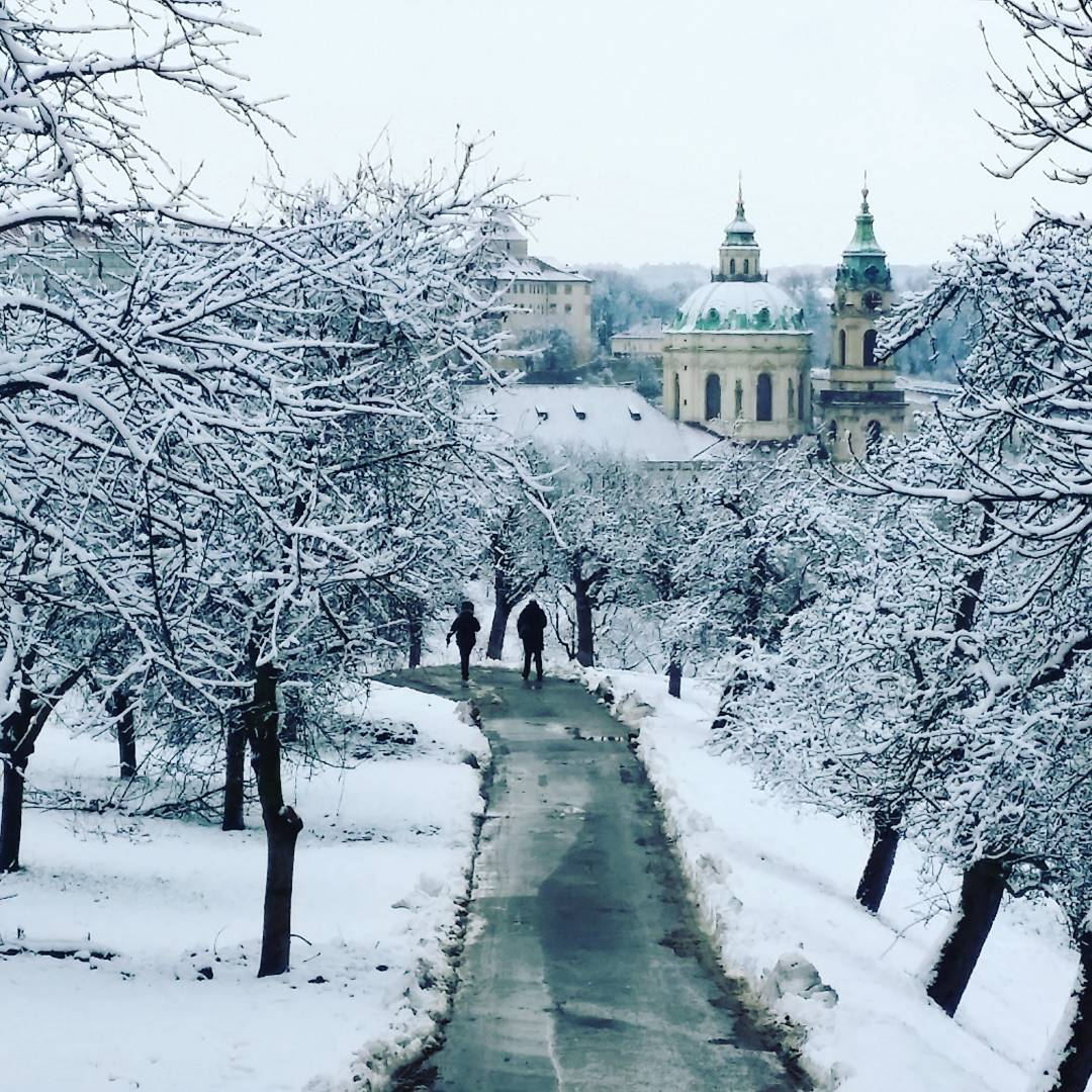 snowy path in Prague