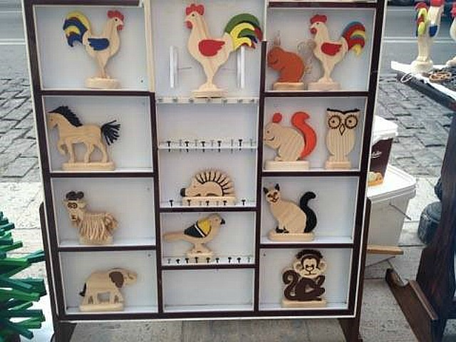 woodworking decorations on display in Tbilisi