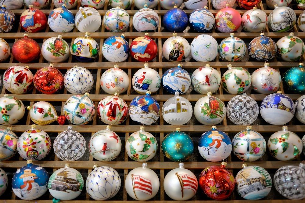 Christmas balls on display