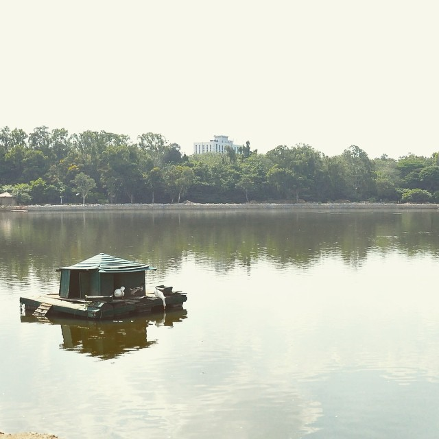 overlooking a lake in Bangalore