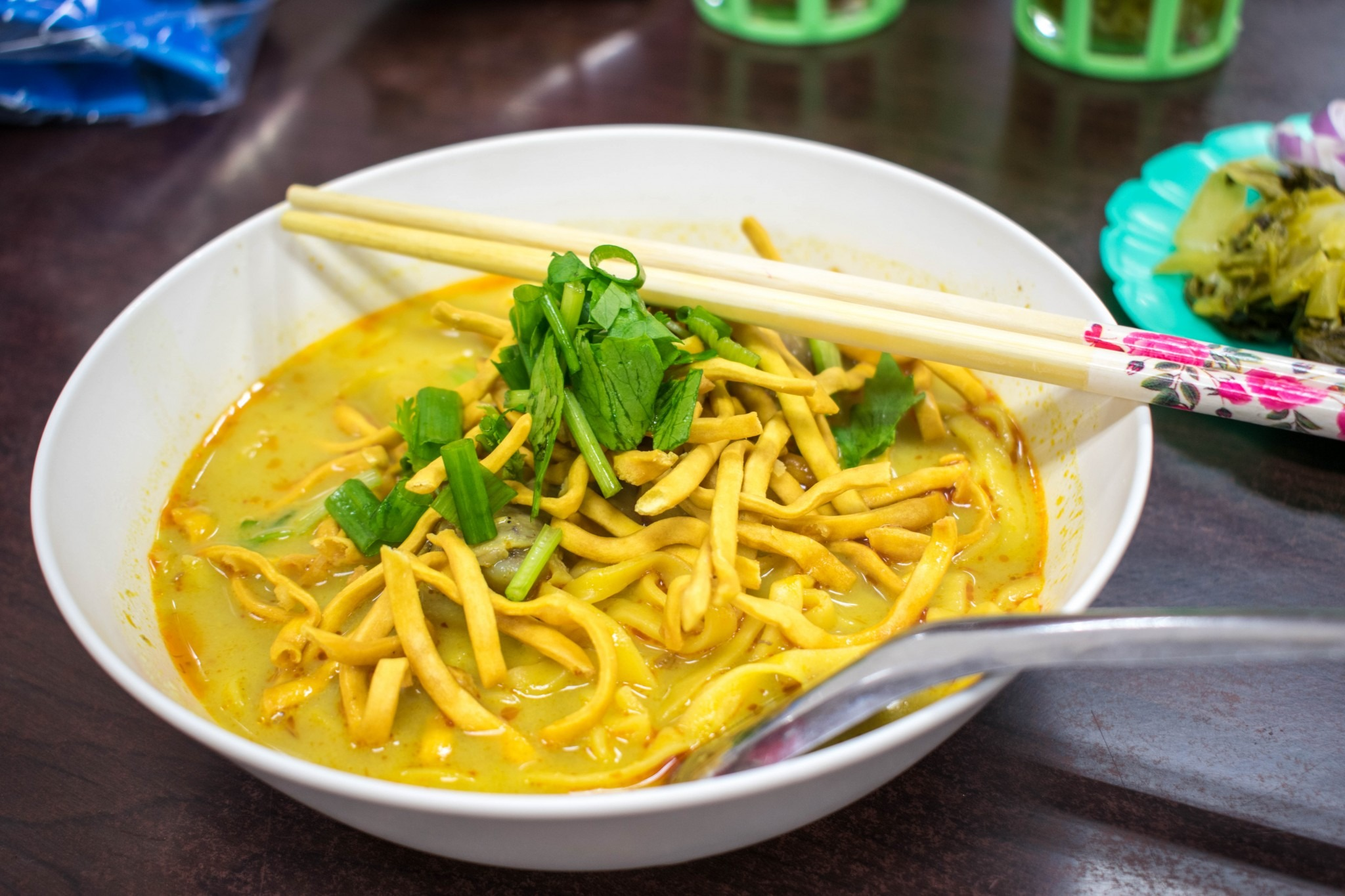 bowl of khao soi in Chiang Mai