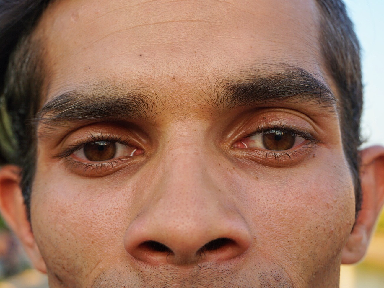 close-up of eyes of a local man in Romania
