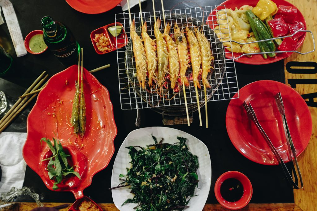Barbecued prawns in Vietnam