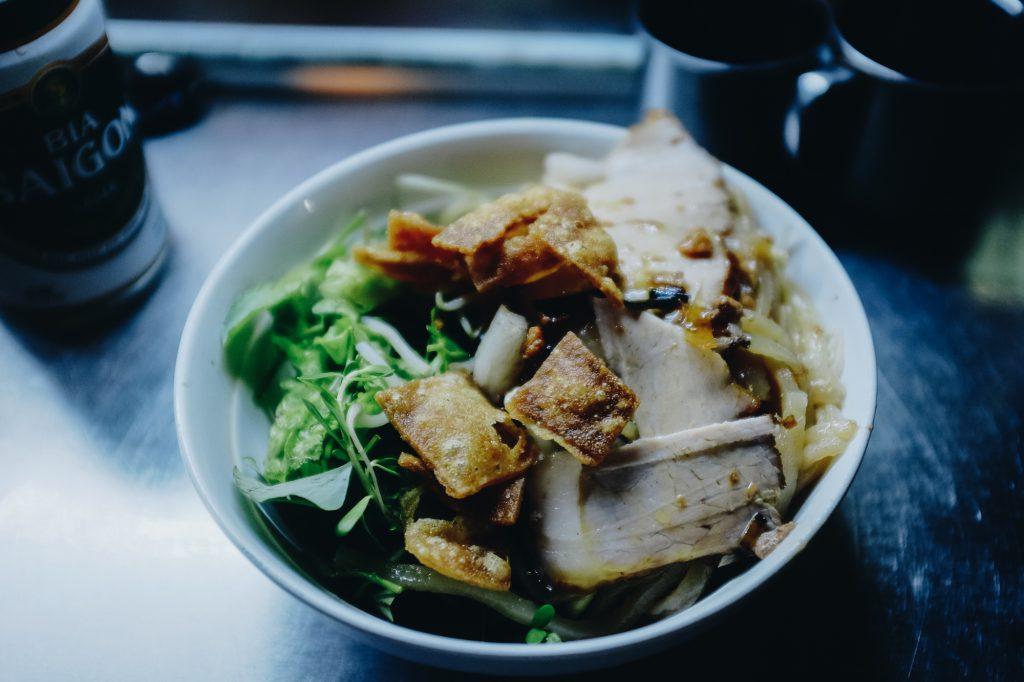 Bowl of cao lau in Vietnam