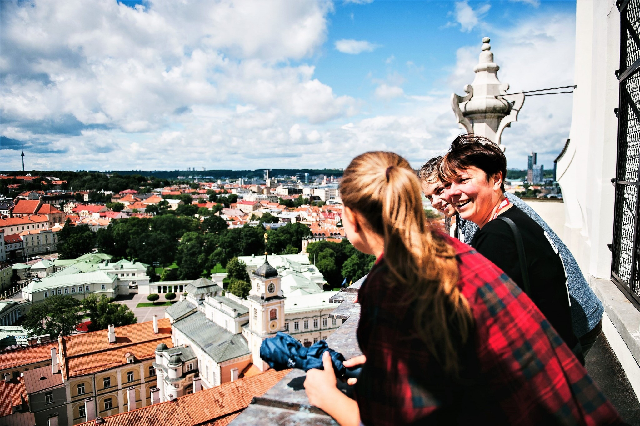 travellers looking out over the Vilnius skyline
