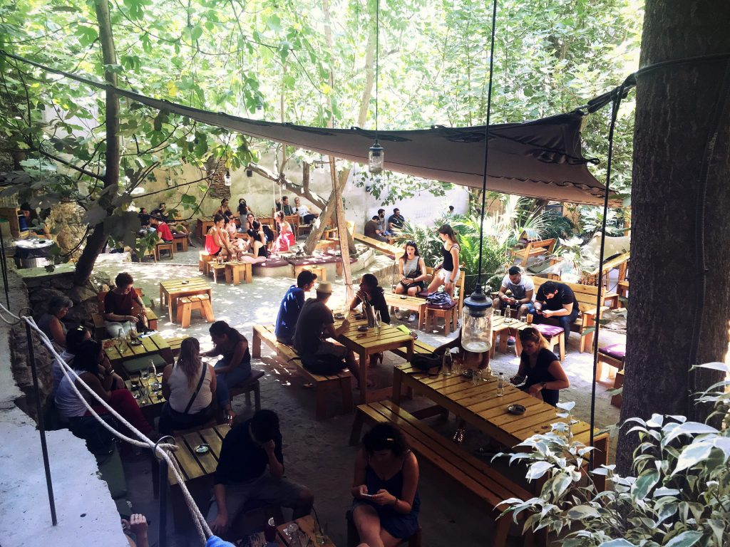 outdoor patio filled with people in Athens