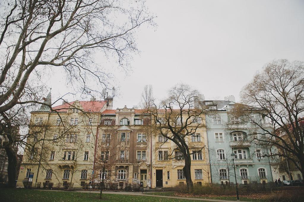 exterior of an old building in the Karlin neighbourhood of Prague