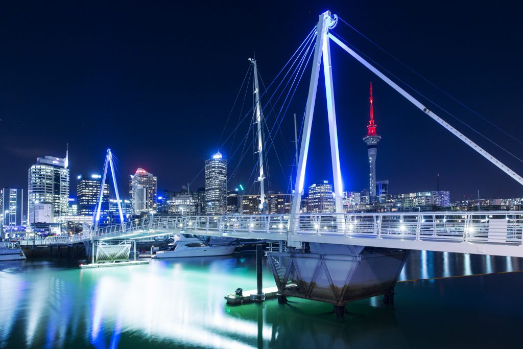 Auckland harbour lit up at night
