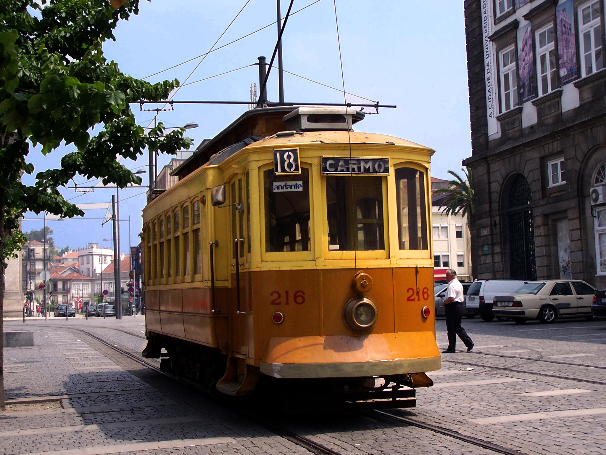 old-fashioned streetcar in Porto