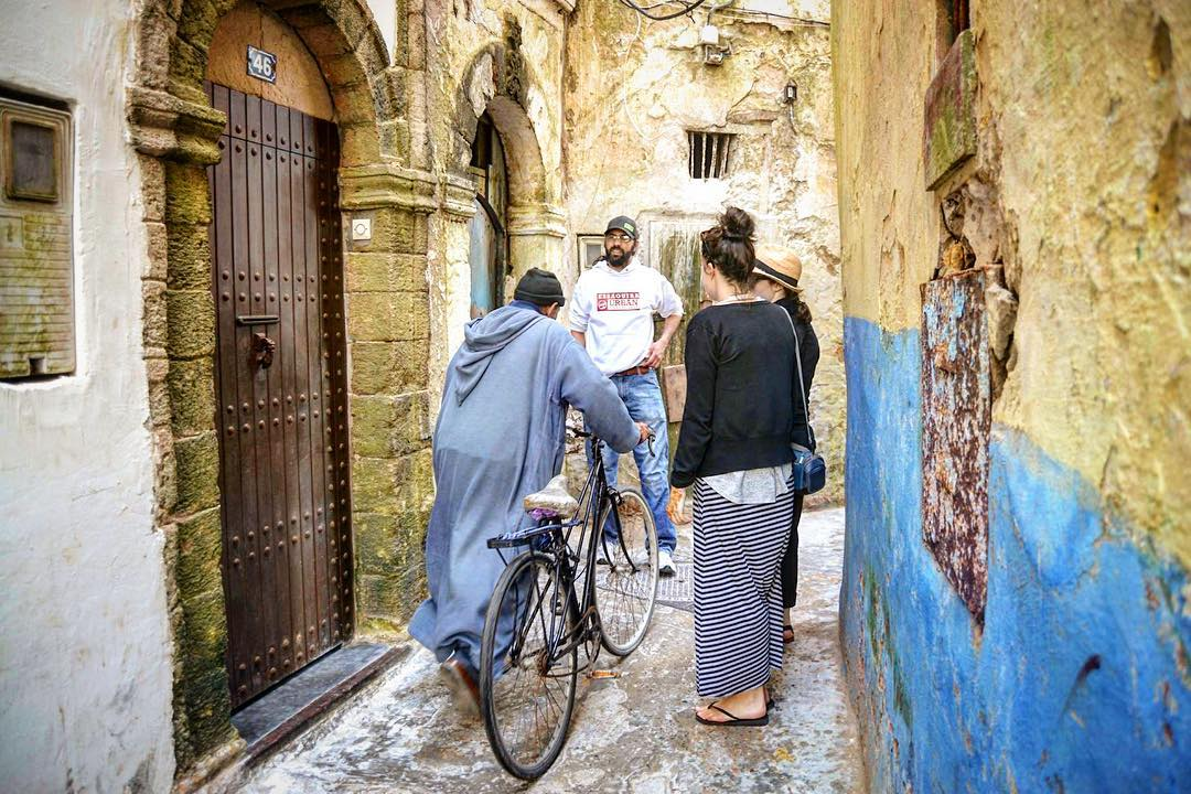 travellers in an old corner of Essaouira