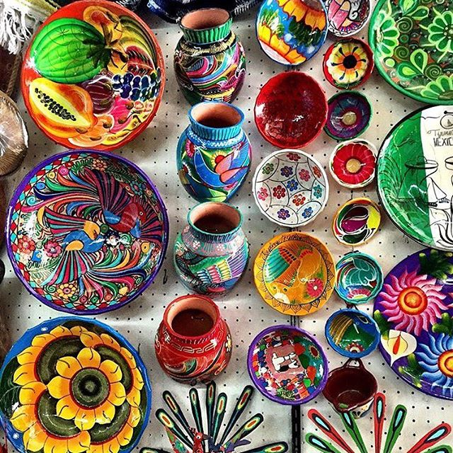 coloured potter on display in Tijuana
