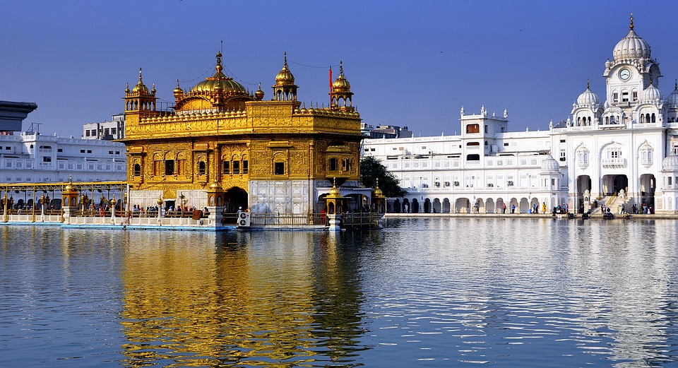 View of Golden Temple of Amritsar from the water