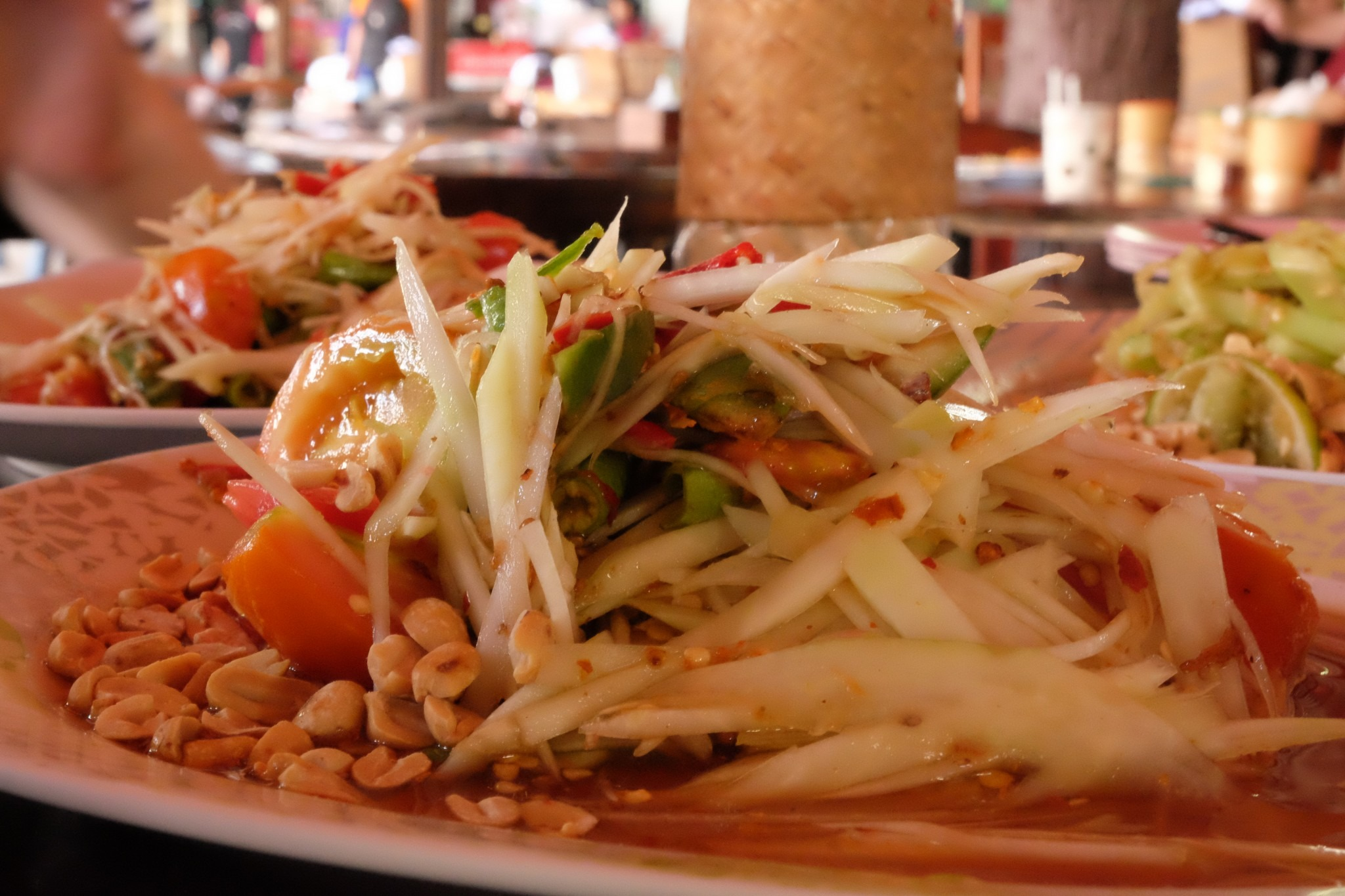 close-up of papaya salad